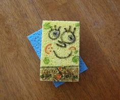 """Thinking dollar store sponges, my husbands fine drawing skills and we could make some sort of water game out of real sponge""""bob"""" sponges!"""
