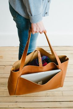 handmade leather Weekender Tote by NomadLeatherwork on Etsy
