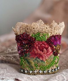Heirloom rose  romantic shabby chic wrist cuff by FleursBoheme                                                                                                                                                                                 More