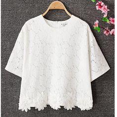 Le Donne Estate Pizzo Hollow Camicia lunga Top irregolare floreale allentato manica Bianco