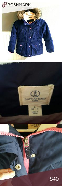 """PERFECT Condition Lands End Girls Jacket! Selling a PERFECT Condition Lands End Girls Jacket! This jacket will keep your little girl warm! Super cute, two tone color, removable fur hood, fur not matted and gross, it is a """"grow a long"""" jacket, no flaws, size 6x-7. Lands' End Jackets & Coats"""