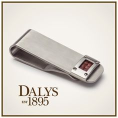 Edward Mirell Gray Titanium Money Clip with Brown Leather