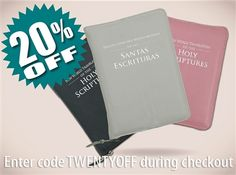 Save 20% on New World Translation Bible covers Buy now: http://MinistryIdeaz.com/Embossed  Enter code TWENTYOFF during checkout to save! A great gift for any occasion, this beautiful embossed NWT Bible cover includes two velvet page marker ribbons as well as a handy pocket on the front-inside and back-inside to keep small papers or notes. Available in 20 different colors. Also now in Spanish  Read more: http://MinistryIdeaz.com/Embossed