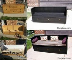 Old dresser remade into bench love this :) http://photokapi.com/2012/07/old-dresser-to-a-bench-upcycle/