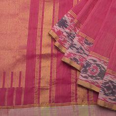 Linen - Lily Saris - Light Lotus pink Venkatagiri weave w Indonesian ikat border - Light Lotus pink blouse.