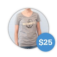 Heathered Steel V-Neck T-Shirt - Mercy Anchor  Yay! A cute Mercy Ships shirt!