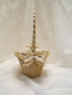 Flower Girl Basket  Woven Wicker Basket  by VKVDesigns on Etsy