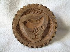 ANTIQUE Primitive CARVED WOOD BUTTER Cookie MOLD Bird and Leaf Design