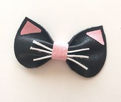 Kitty Bow leather hair clip by KerleyGirls on Etsy