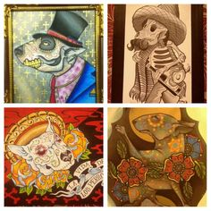 Day of the Dead bull terrier art! These would make for some sweet tattoos!