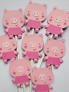 Set Of 12 PIG Cupcake Toppers, cow, sheep, pig, horse, chick, farm animals, First birthday party, baby showers, cupcake decorations. $10.00, via Etsy.
