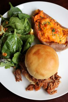 Pineapple Pulled Pork Sandwiches (cooked in slow cooker) - yummy and the twice baked sweet potatoes are TO DIE