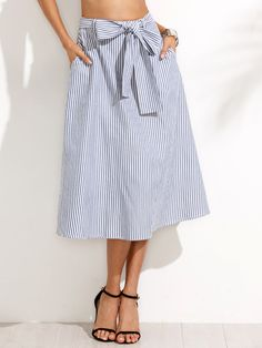 Shop Blue Striped Pocket Tie Waist Midi Skirt online. SheIn offers Blue Striped Pocket Tie Waist Midi Skirt & more to fit your fashionable needs.