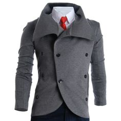 FLATSEVEN Mens Slim Turtleneck Unbalanced Blazer Jacket (BJT01)