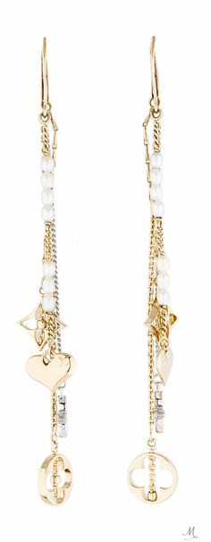 LOUIS VUITTON MONOGRAM PEARL DROP EARRINGS