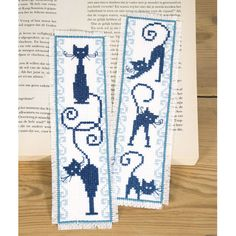 Picture only.  Kitty Silhouette Bookmarks - Cross Stitch, Needlepoint, Stitchery, and Embroidery Kits, Projects, and Needlecraft Tools | Stitchery