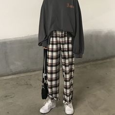 Asian style Buy Chililala Lettering Long-Sleeve T-Shirt/ Plaid Wide Leg Pants Korean Outfits, Retro Outfits, Grunge Outfits, Vintage Outfits, Cool Outfits, Vintage Pants, Casual Hijab Outfit, Casual Outfits, Plaid Pants Outfit