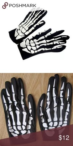 🌼SALE Skeleton Hands Gloves Black & white skeleton hand gloves. Glove design on top of hand only. Palm side is black. Materials: spandex, lycra and rubber. Light weight gloves. White skeleton bones are rubber. One-size-fits-most. OSFM. Please ask if you have questions. Goth Punk Spooky Halloween Party Day of the dead Emo Cosplay Costume Rave Dark Samhain Holiday Gothic Accessories Gloves & Mittens