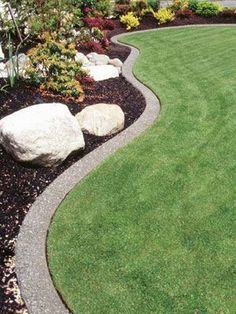 neat and tidy edge. Edge with concrete curb or a stamped concrete. - front yard edging of drive Outdoor Landscaping, Front Yard Landscaping, Landscaping Ideas, Landscaping Edging, Landscaping Software, Patio Ideas, Back Gardens, Outdoor Gardens, Yard Edging