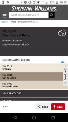 Basement Wall Colors, Basement Walls, Brown Interior, Interior And Exterior, Deep Forest, Coordinating Colors, Natural Linen, Home Improvement, Home Improvements