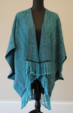 Handwoven Saco (Unstructured Jacket)  in Luxurious Wool and Silk Turquoise with Teal and Violet