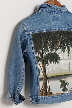 Levi's jacket with an oil painting for it's back panel! Kunstenaar Jacket, Wasen Boat #anthropologie
