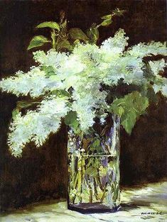 Manet. Lilacs in a Vase oil paint (c 1882) Nationalgalerie Berlin During his final illness Manet painted beautifully aphoristic pictures of flowers in crystal vases. FLORAinterpretations http://ift.tt/2qs8D8t