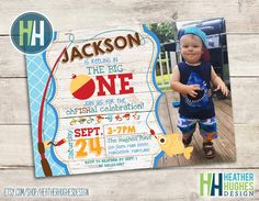 big ONE invitation, fishing theme birthday invite, boy first birthday, 1st birthday printable invitation, reeling in the big one personalize by HeatherHughesDesign on Etsy https://www.etsy.com/listing/462386704/big-one-invitation-fishing-theme