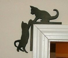 Cats silhouette in door frame. - - Cats silhouette in door frame. Cnc Projects, Woodworking Projects, Metal Art, Wood Art, Cnc Router Plans, Cat Silhouette, Cute Kittens, Scroll Saw Patterns, Wood Patterns