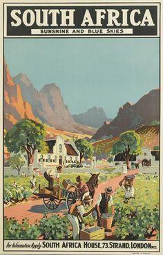 South Africa, sunshine and blue skies ~ Charles Peers Party Vintage, Tourism Poster, Vintage Travel Posters, Grafik Design, Africa Travel, Surfing, Blue Skies, Poster Prints, Illustrations