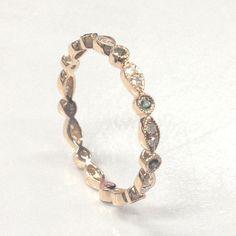 Green Alexandrite Diamond Wedding Band!Eternity Anniversary Ring,14K Rose Gold - Lord of Gem Rings - 2
