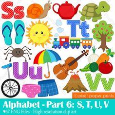 Alphabet Clipart Part 6- ABC clip art - STUV - School clip art