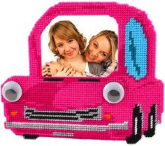 Car-Toon Pink Photo Frame - Framous Plastic Canvas Kit