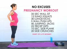 No Excuses Pregnancy Home Workout - I'm not sure if I could do the last two in the sequence but this does seem doable!