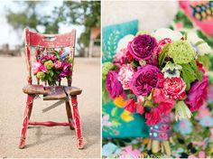 love this bouquet + the shabby chair and fun patterns add even more WOW to picture.