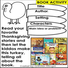 Teach STORY ELEMENTS using your favorite Thanksgiving books! Kiddos will fill in the turkey feathers according to the story elements of the book, then cut, color and assemble a turkey! #thanksgiving, #turkey, #storyelements, K-2