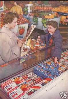Shopping for delicious and/or wholesome frozen foods. Vintage Housewifery