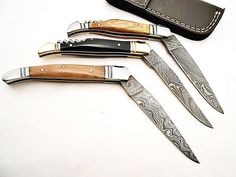 laguiole Damascus Pocket Folding Knife lot of 3 for Best Price   customknives0065 - Craft Supplies on ArtFire