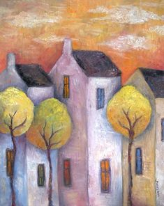 Tall Town Houses by Jeremy Mayes Naive Art, Whimsical Art, Urban Art, Painting Inspiration, Art Lessons, Folk Art, Watercolor Paintings, Art Drawings, Contemporary Art