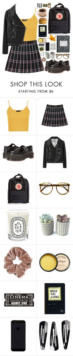 """College"" by mirelletelle ❤ liked on Polyvore featuring mode, Topshop, Dr. Martens, Acne Studios, Fjällräven, Diptyque, Jurlique, Urban Outfitters, NLY Accessories et CB2"