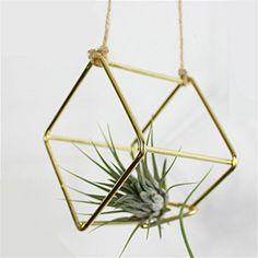 sundlight 2 pack hanging metal tillandsia air plant rack holder black pyramid shape geometric hollow