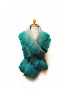 Hand felted scarf turquoise and ocean shades by GabardineCouture, 88.00