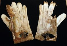 A pair of men's cotton gloves recovered from the RMS Titanic wreckage.