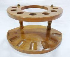 Vintage walnut pipe holder 7 slots wooden tobacco stand rack mid century