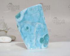 Larimar slab, aqua blue Larimar slab, BIG larimar, Larimar display, sky blue stone, blue pectolite, raw larimar, soft blue, cabbing 653.5 ct