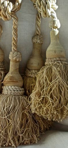 antique French tie backs, tassels ~<>~ (beige, color, passementerie) Passementerie, French Country Style, French Decor, French Antiques, Tassels, Neutral, Shabby Chic, Creations, Rustic