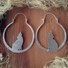 100% Sterling Silver Howling Wolf Hoops Hoops for by ritualremains
