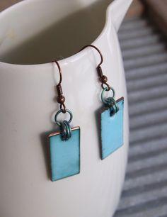 Dusk Blue Enamel Earrings with Titanium £28 - Creative Connections