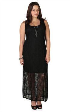 a42f1357e2f6a Deb Shops plus size black lace  maxi dress with illusion