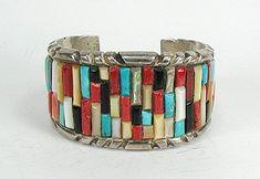 Native American Navavo sterling silver cobblestone inlay bracelet